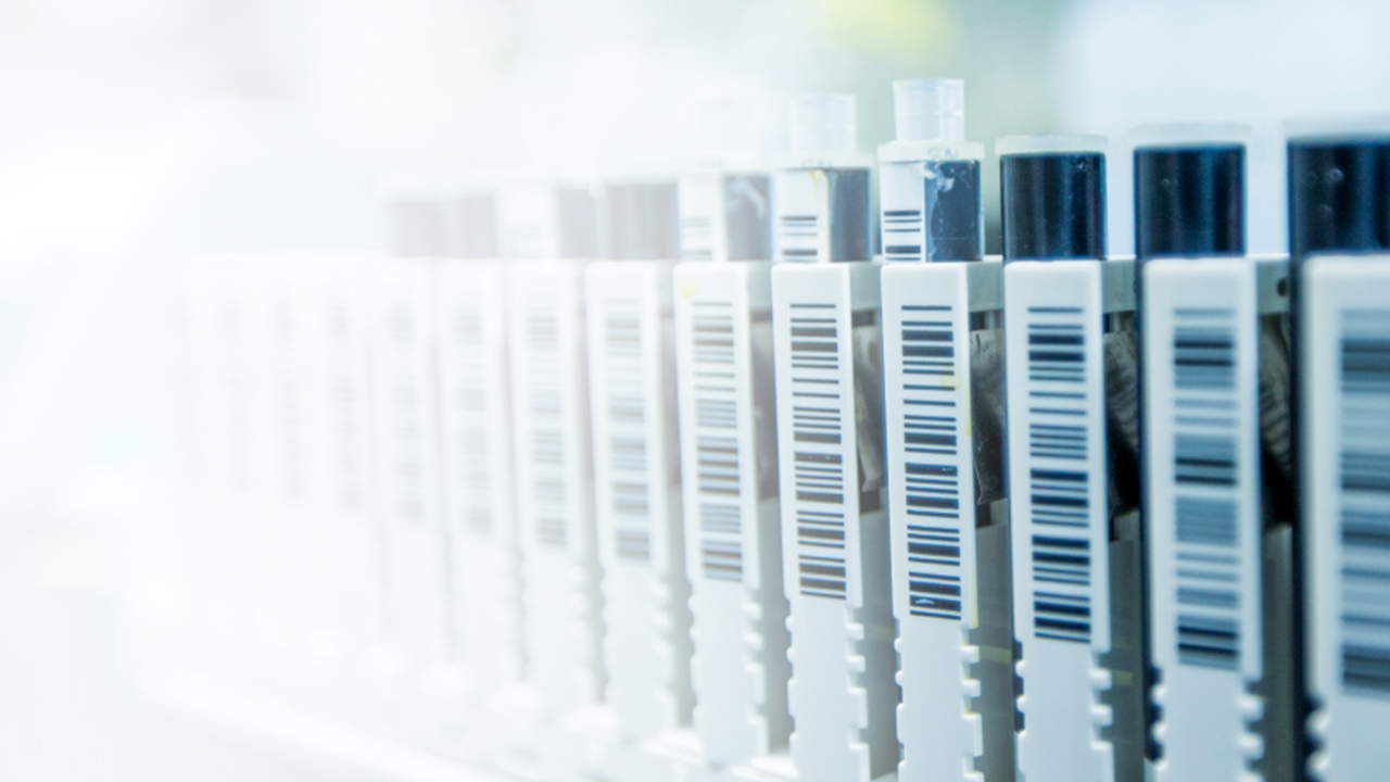 Barcoded containers of product lined up