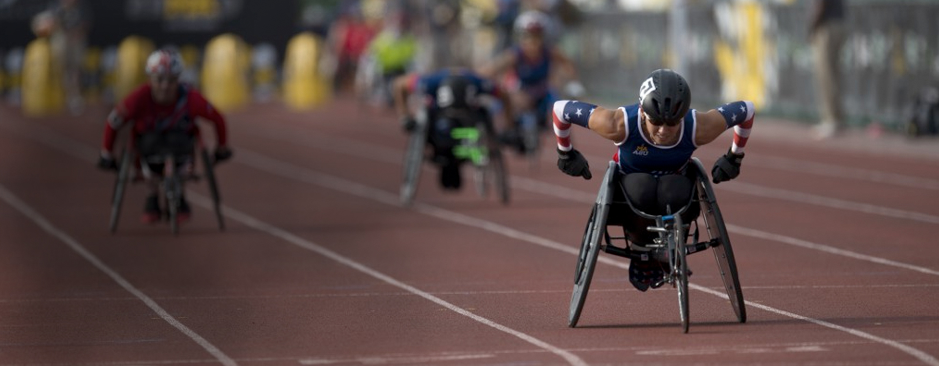 Athlete in a sprinting wheelchair