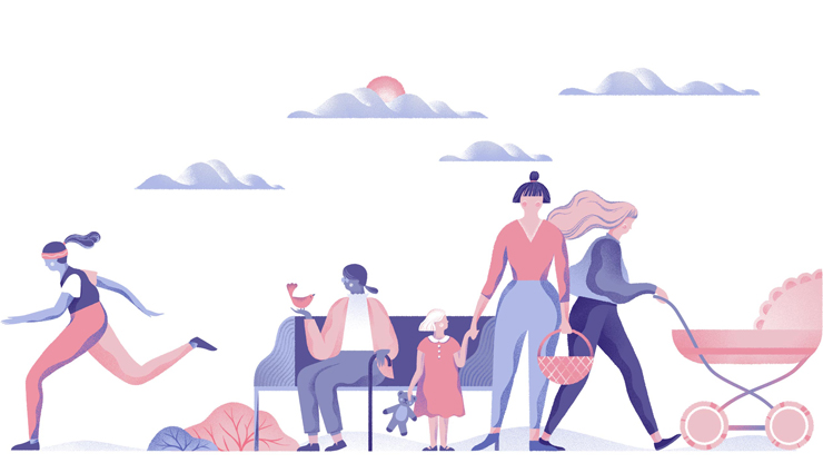 Colourful illustration of multiple women doing various activities