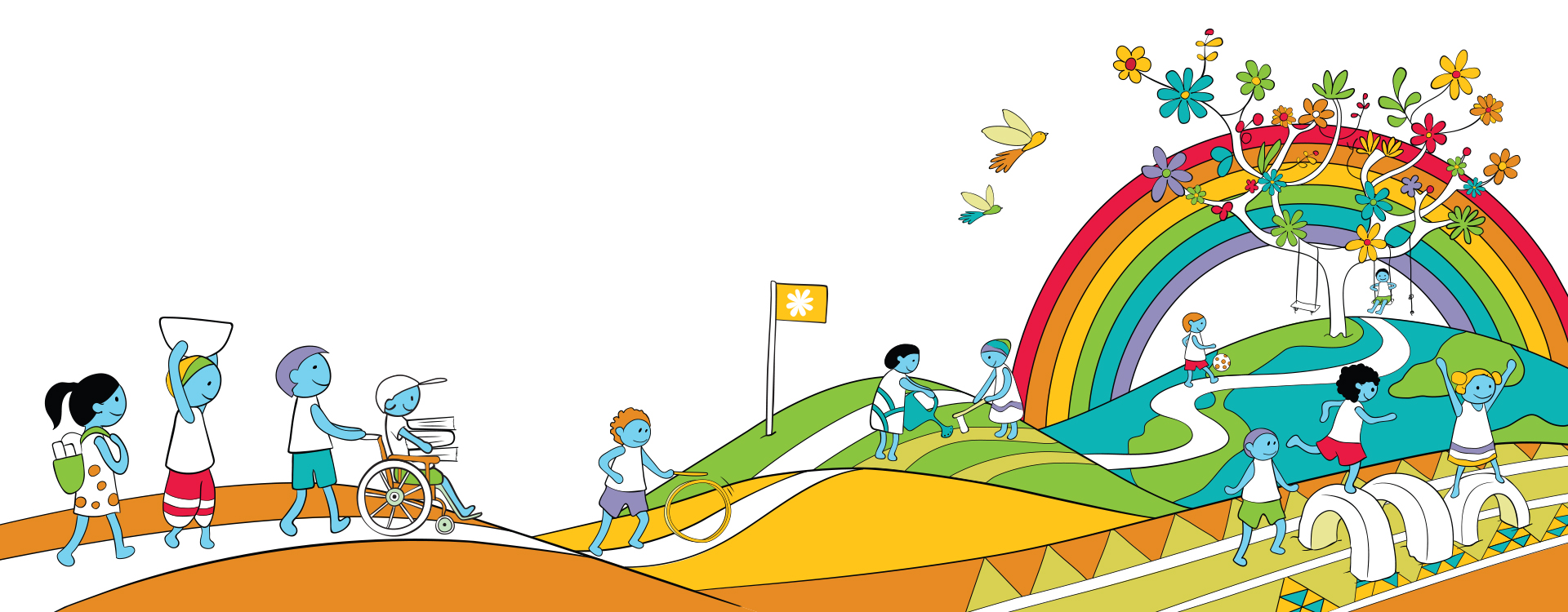 Colourful illustration depicting children walking and playing